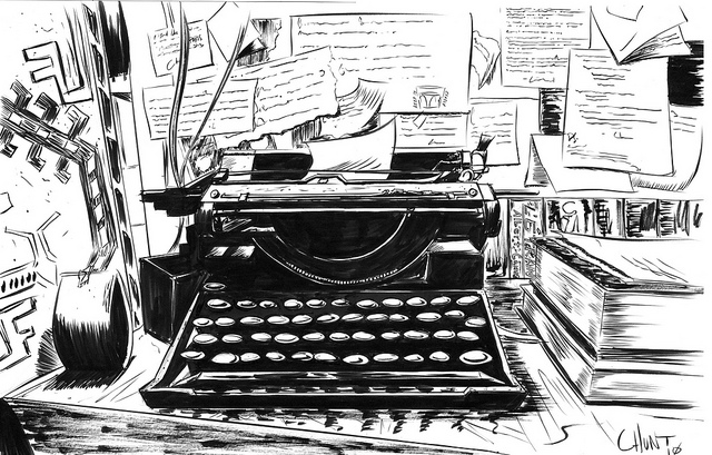 "heyoscarwilde :     ""There is nothing to writing. All you do is sit down at a typewriter and bleed."" - Ernest Hemingway   illustration by  Christopher Hunt  :: via  flickr.com"