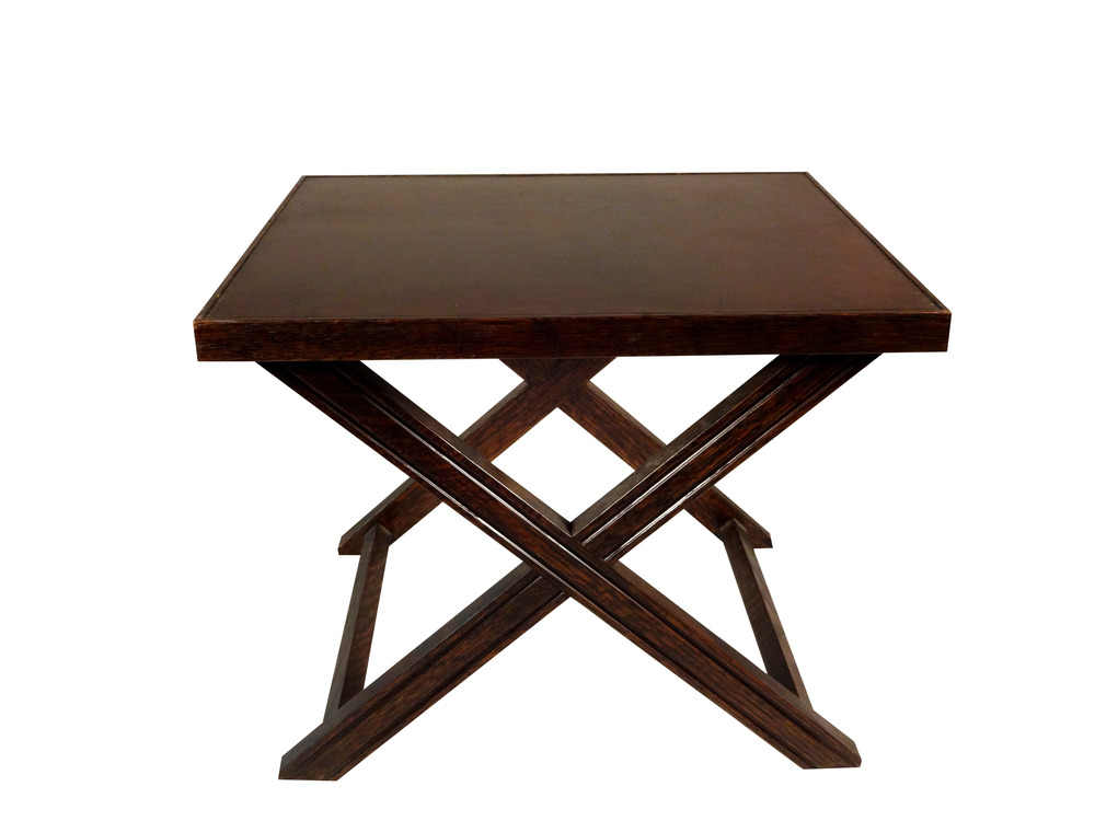 Brown X Side Table