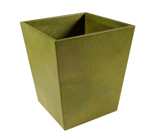Large Green Goatskin Wastebasket