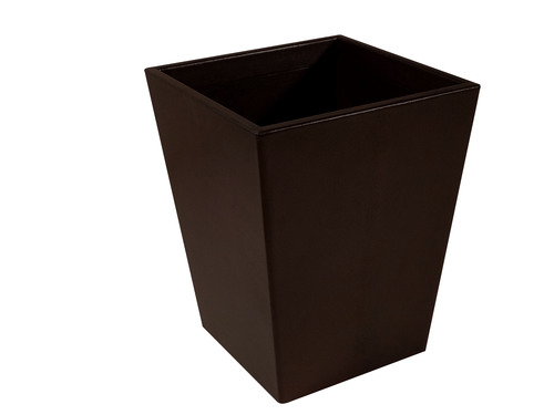 Dark Chocolate Leather Wastebasket