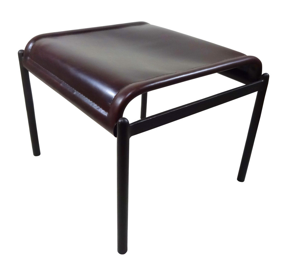 Wrought Iron & Heavy Leather Footrest