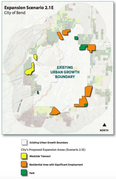 Most recent UGB expansion map from the City of Bend. The USC made slight modifications to the map on Thursday.
