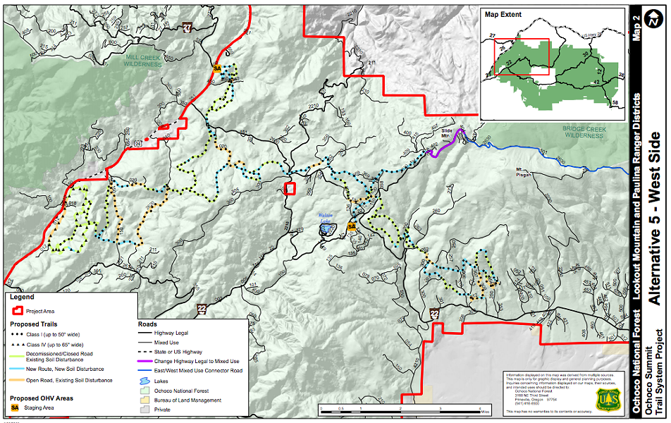 Map of West Side of Ochoco Summit Trail System.