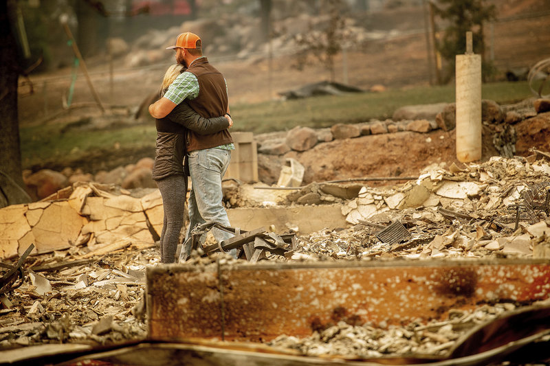 At least 42 people have died in the Northern California wildfire that burned through the town of Paradise with shocking speed. The fire has destroyed more than 6,500 homes and 260 commercial buildings.  Find out how you can help.    Noah Berger/AP