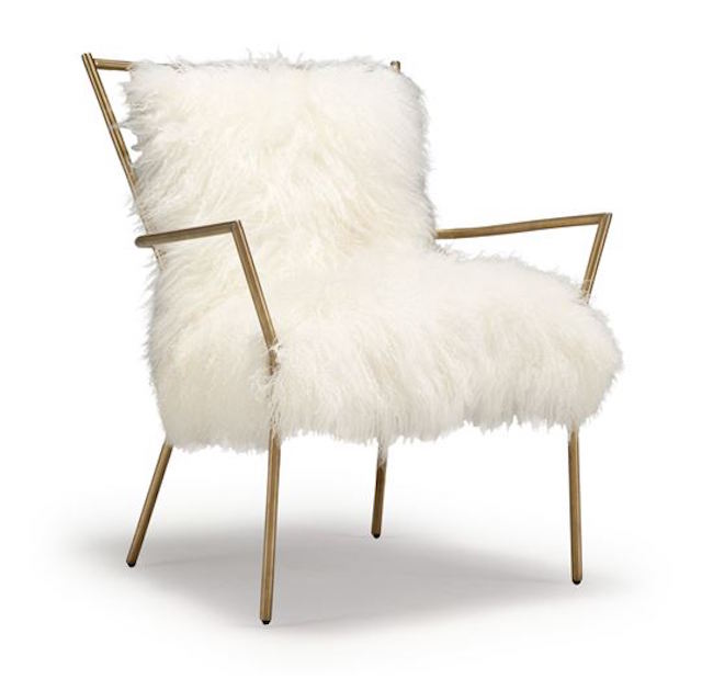 More great interior items for purchase that are well designed are Mitchell Gold's great Tibetan fur chair. A nice scale and comfortable