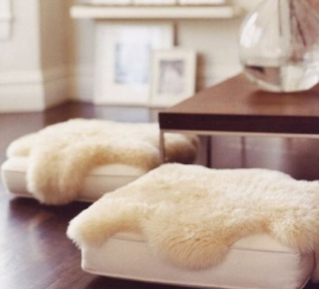 Lastly, these sheepskins from Costco are a great buy and make any chair or cushion look swanky.  Bundle up!!!