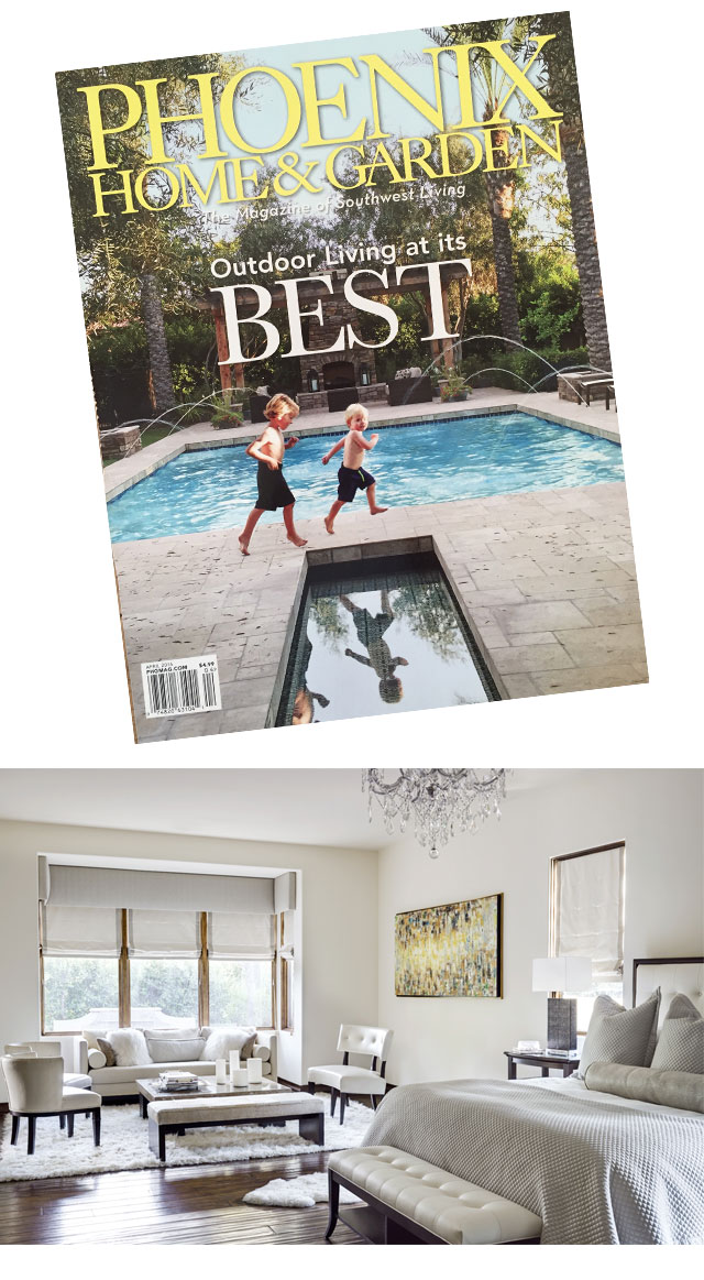This spring our clients cute boys were featured on the cover of Phoenix Home & Garden - Outdoor Living at it's Best.  Inside the spread were many pictures of their beautiful home we designed... here are few pictures from our private collection!