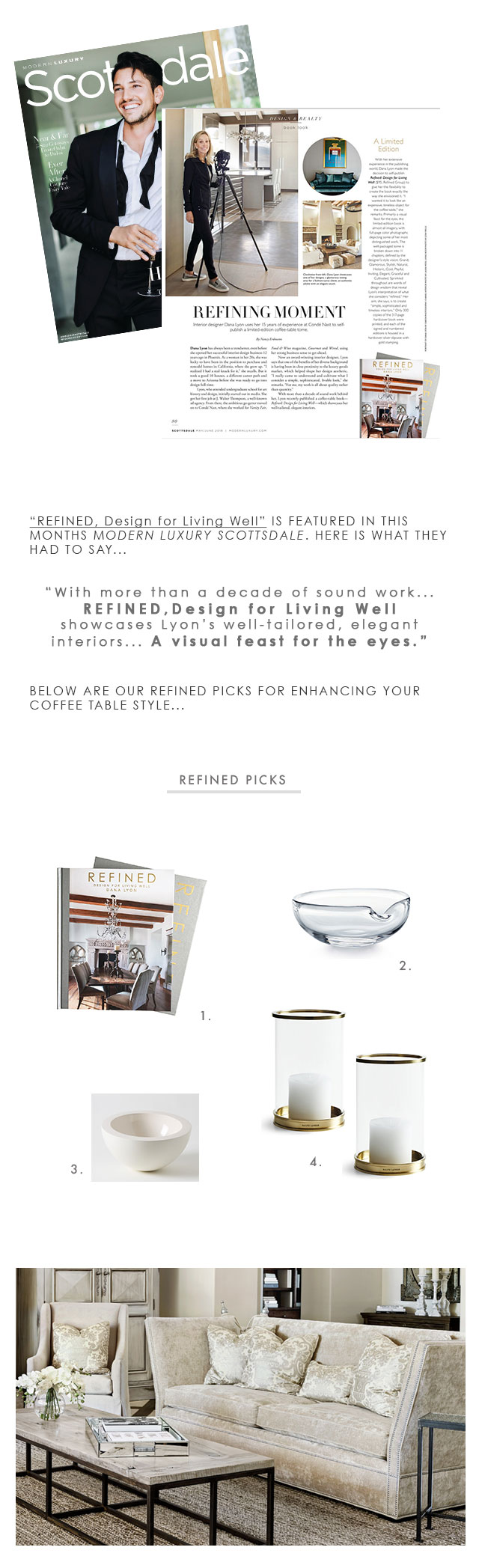 1.  REFINED BOOK   2.  TIFFANY THUMBPRINT BOWL  3.  JOHN PAWSON BOWL FOR MARCH SF  4.  R  ALPH LAUREN BRASS HURRICANES
