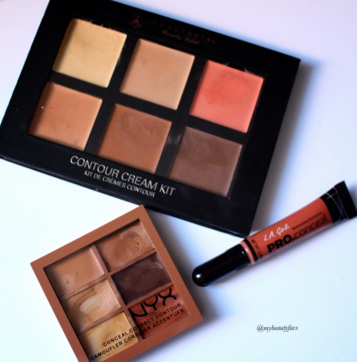 L.A. Girl-Orange Corrector, NYX Concealer-Deep, and Anastasia Beverly Hills Cream Contour-Medium