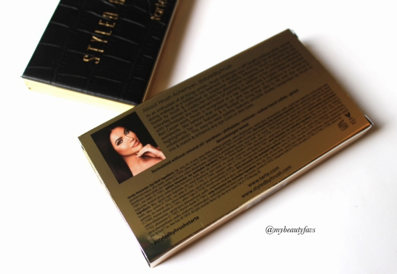 Hrush is pictured at the back of the packaging along with a brief description of her background in the makeup industry
