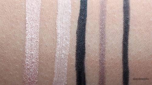 L-R: Shimmer Primer, Matte Primer, Lacquer Cream Eyeliner, Gunmetal Gel Liner and Black Velvet Gel Liner
