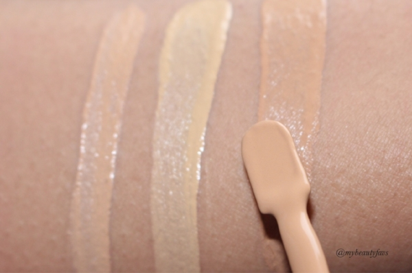 L-R: Concealer - Light Ivory, Foundation - Golden Beige and Amber Beige
