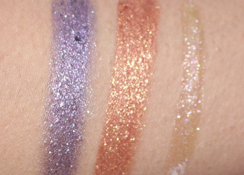 GLAMETHYST 88 - sparkling amethyst, COPPERAZI 86 - fiery copper and Shine A Light - glitzy gold with pink shimmer