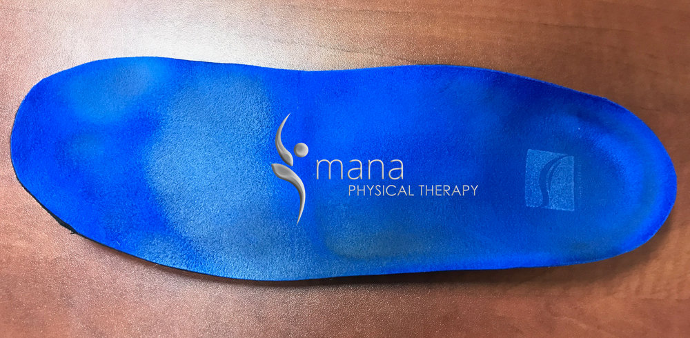 At Mana Physical Therapy, we offer custom fabricated orthotics from Sole Supports.  If you suffer from plantar fasciitis, knee pain, shin splints, or lower back pain, the support provided by these orthotics on the arch of your foot can offer quite a bit of relief. Our patient Danny had these blue suede orthotics made a few weeks ago, and they've almost completely cured his tired and achey feet. Come into Mana Physical Therapy today to get your very own pair, made specifically for your feet!