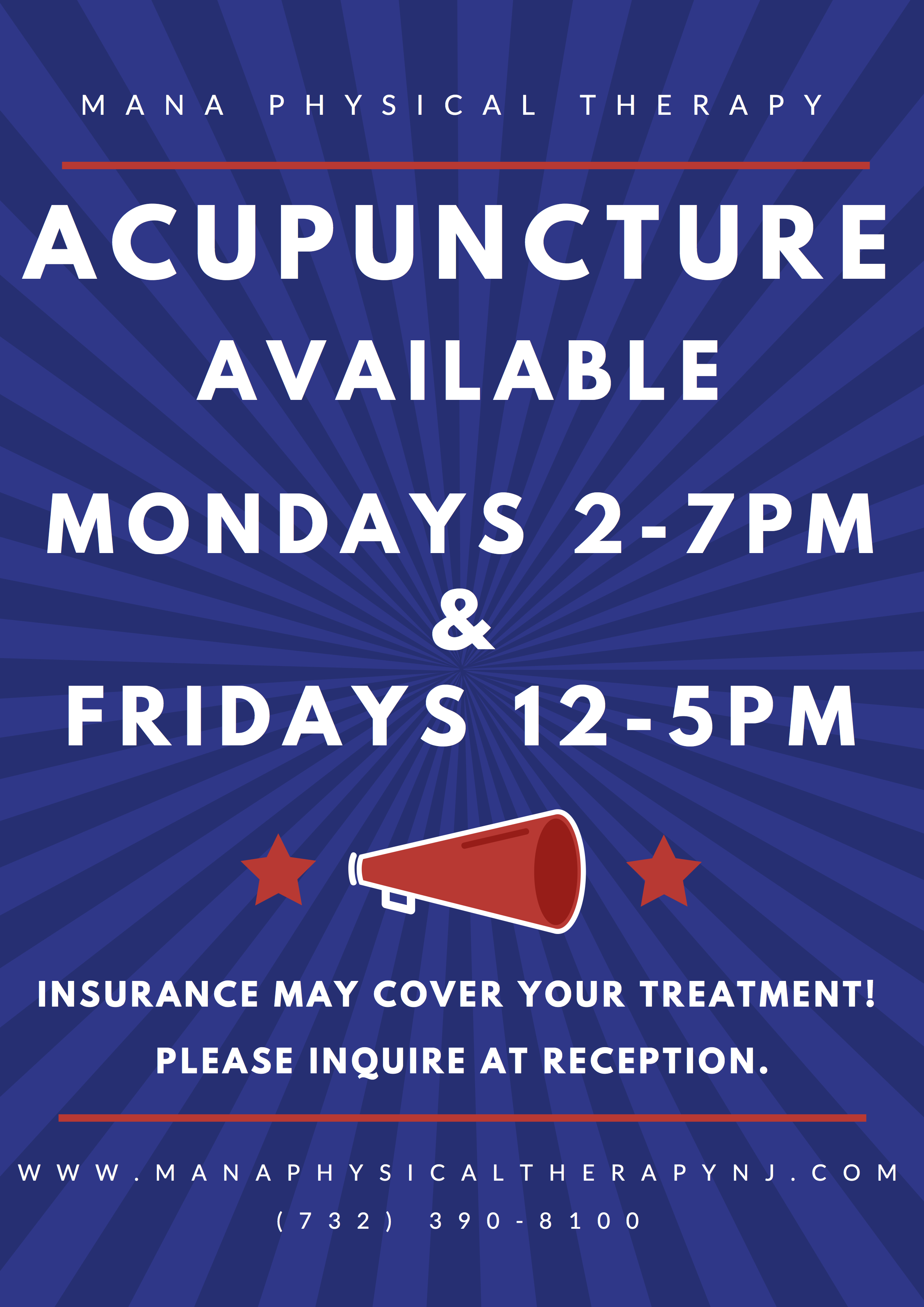 %name Acupuncture Now Available MONDAYS & FRIDAYS At Mana Physical Therapy