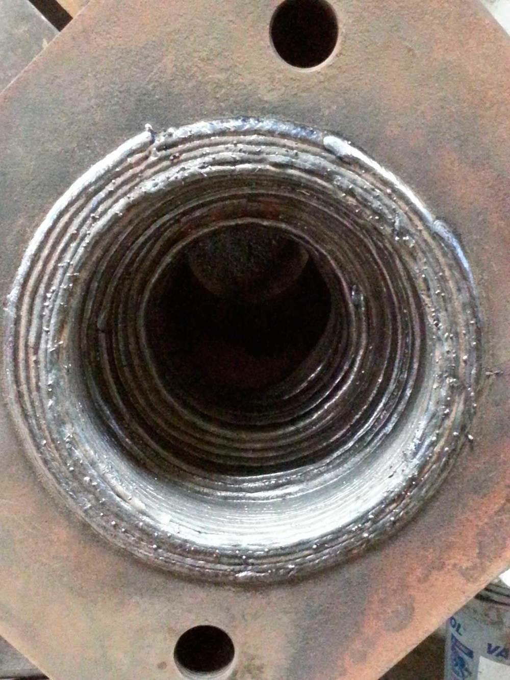 Weld buildup of bore