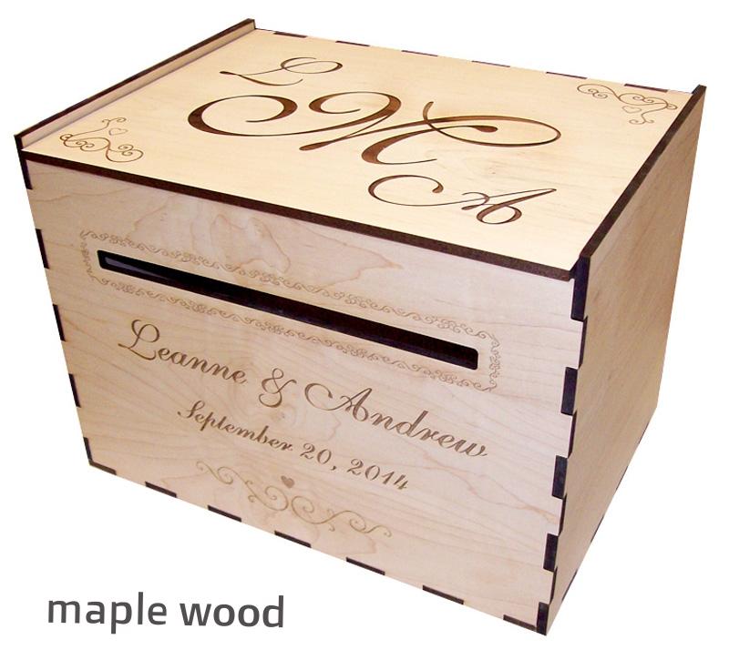 Wood Wedding Card Box Personalized Elkwood Arts