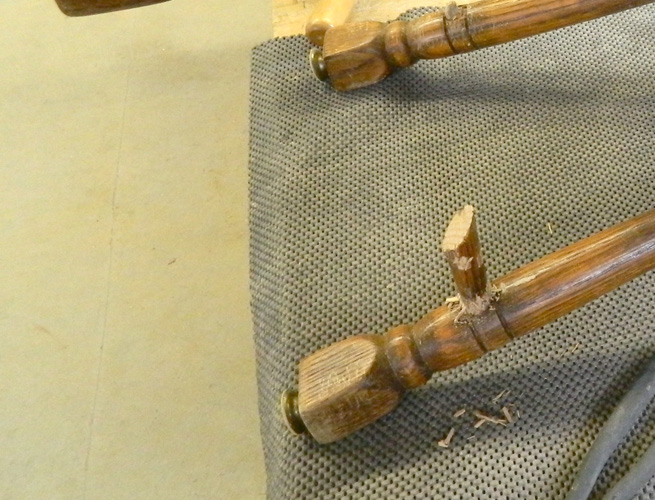 Closeup of breaking off spindles