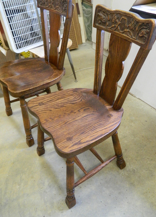 Stained chairs ready for shellac..