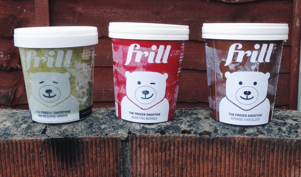 Frill's 3 flavours: greens, berries & chocolate.