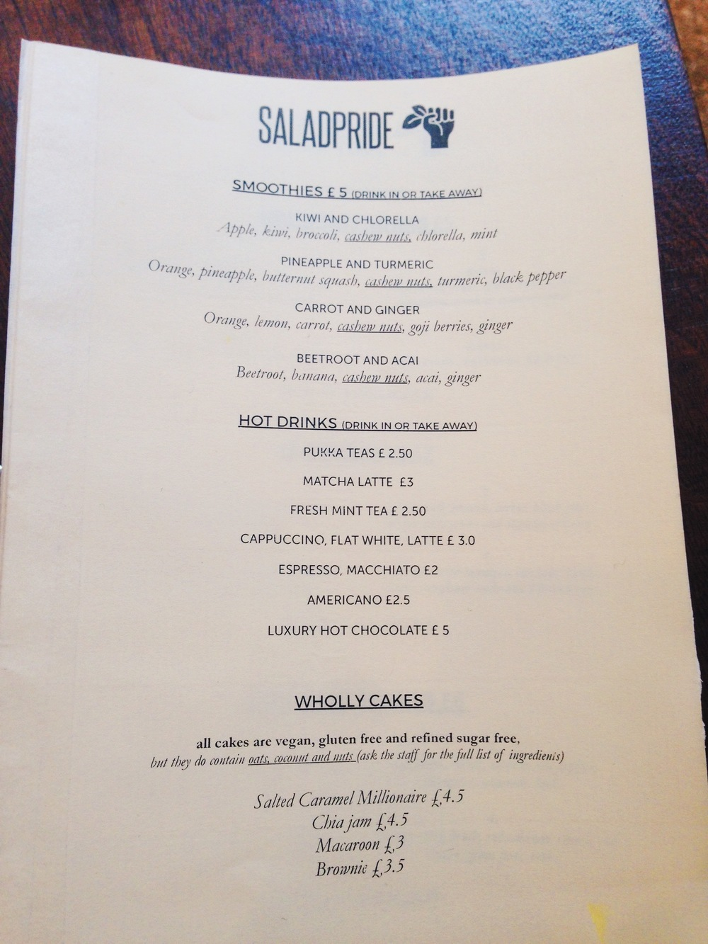 Salad Pride Menu Review - Vegan London