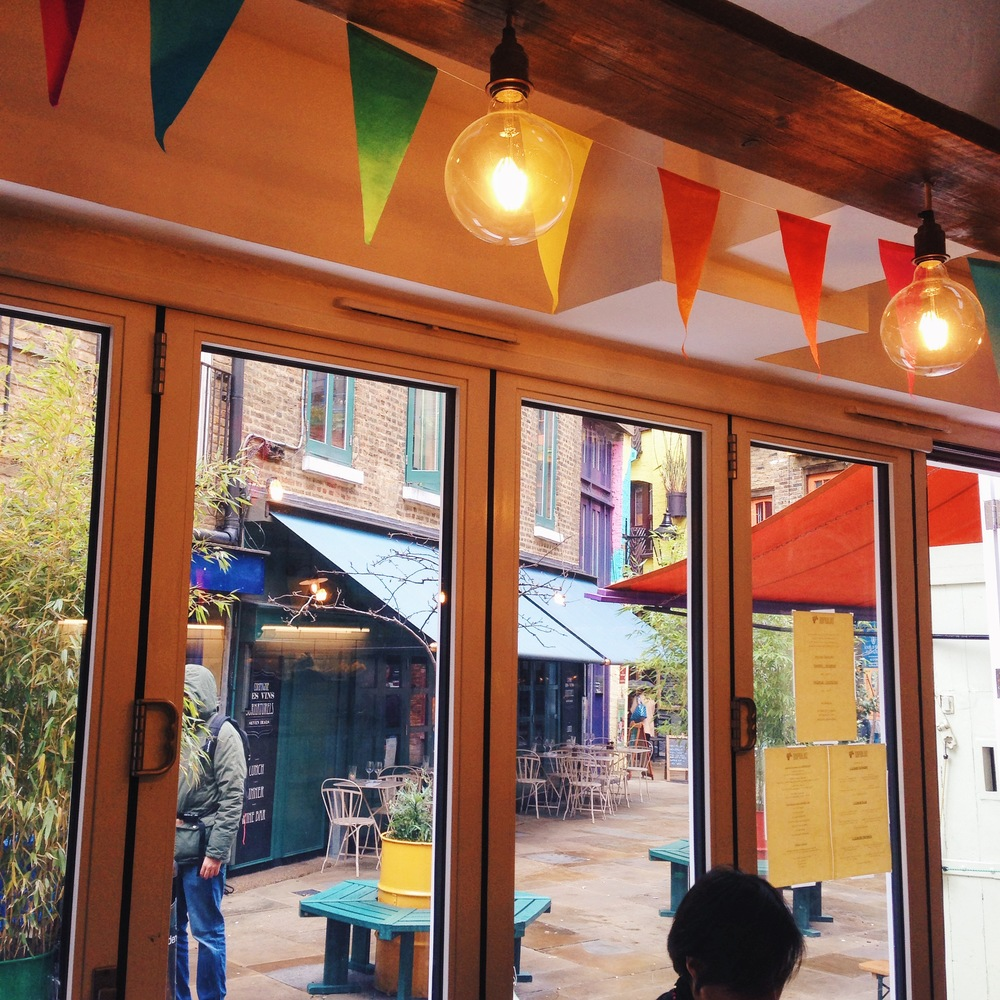 Bunting fitting in with colourful Neal's Yard