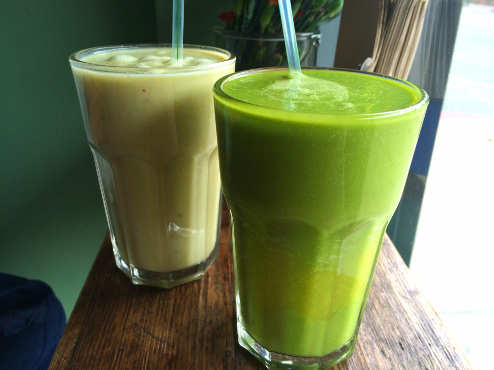 The Remedy (left) and The Greenhouse (right) smoothies.
