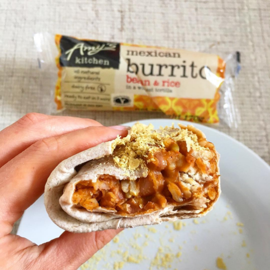 Bean burrito (also come gluten-free) with nutritional yeast