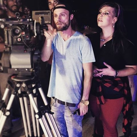 BTS of myself and the talented Director @stevencpitts of Robot Boy vid shoot. This was at the cardboard band scene 🎸🎹🎤🥁 we look deep in thought about those shots :) #RobotBoy #Prisca #bravoocean #musicvideo LINK IN BIO