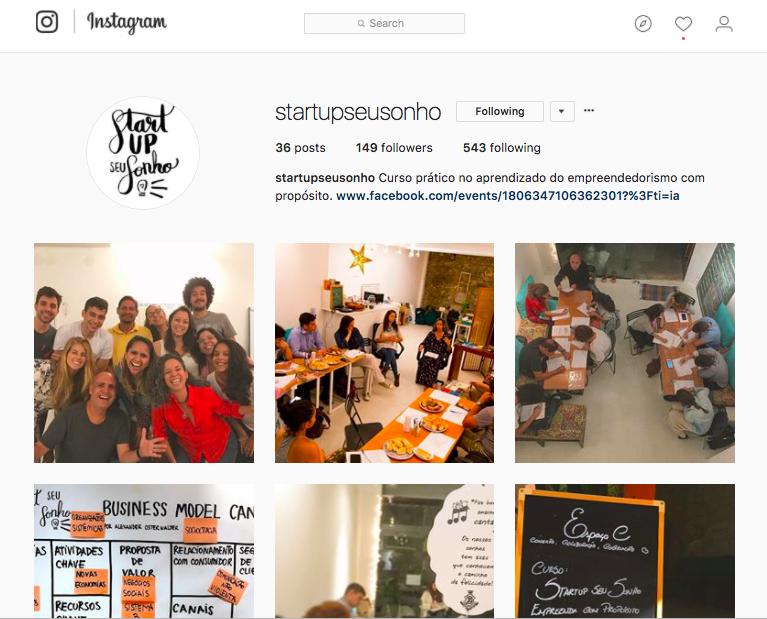 Siga o Startup Seu Sonho no  Instagram  e no  Facebook  para saber as datas dos próximos cursos.