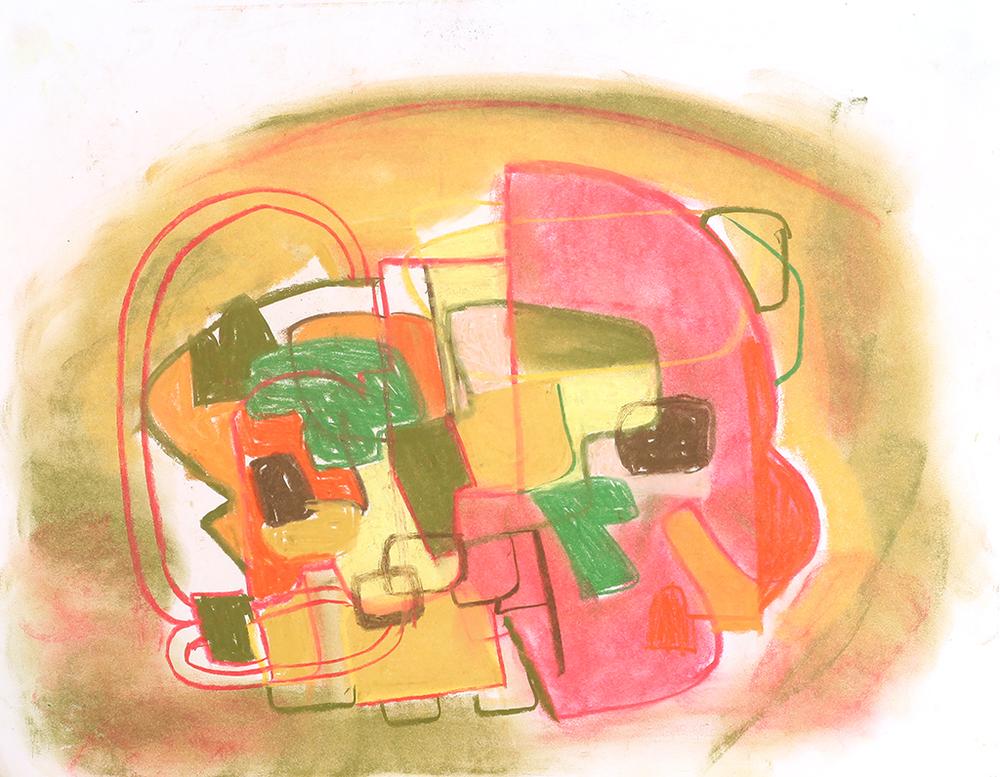 "Kitchen Fire ,  pastel on paper, 2015, 14"" x 11"""