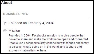 Facebook About