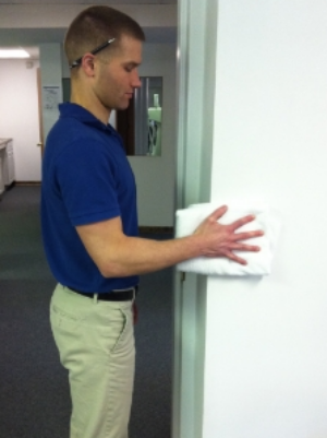 Hand or wrist pushes into wall 5-10 seconds from the shoulder.