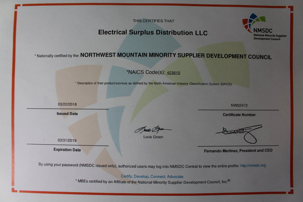 Electrical Surplus Distribution LLC is proud to be a MBE Certified Northwest Mountain Minority Owned Business by NMSDC.