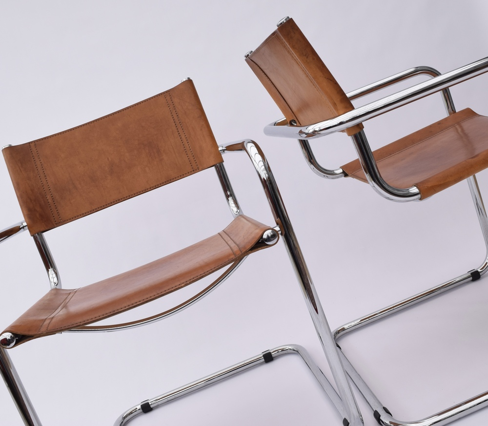 BAUHAUS LEATHER CANTILEVER CHAIR MARTIN STAM S34 DESIGN