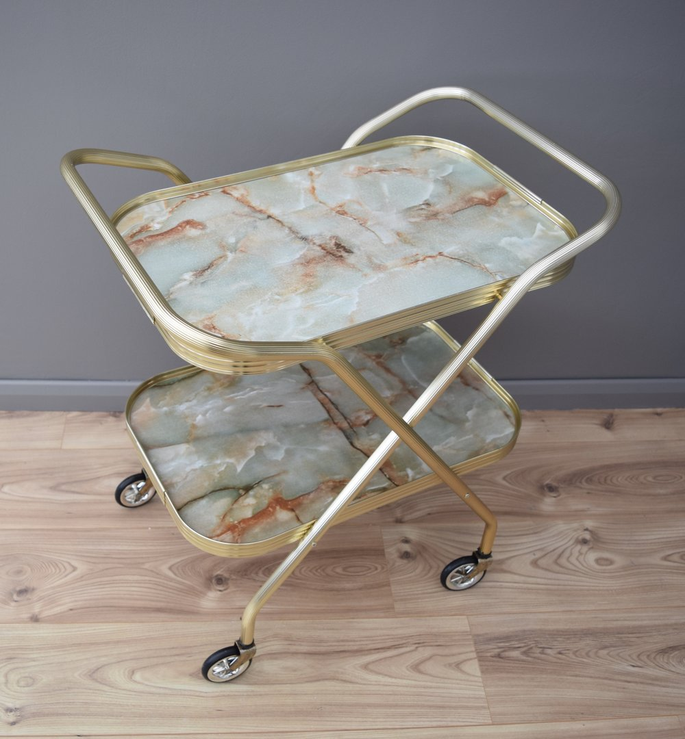 MARBLE DESIGN FOLDING BAR CART