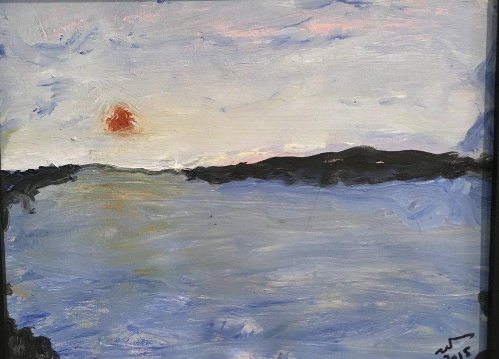Breakwater Sunset - oil on canvas 18