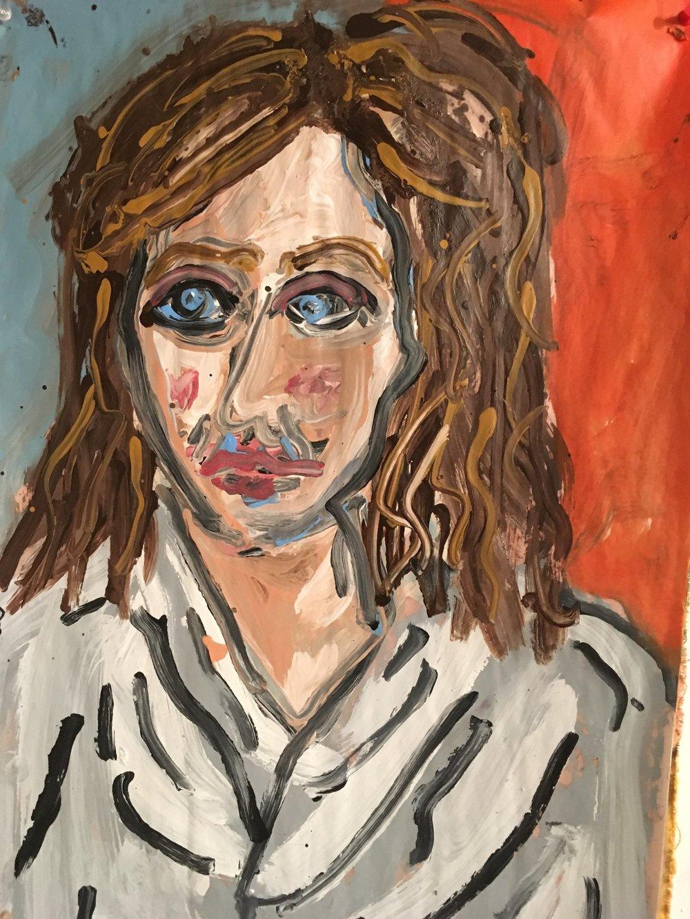 Rachel in Robe II - Oil on paper 2017