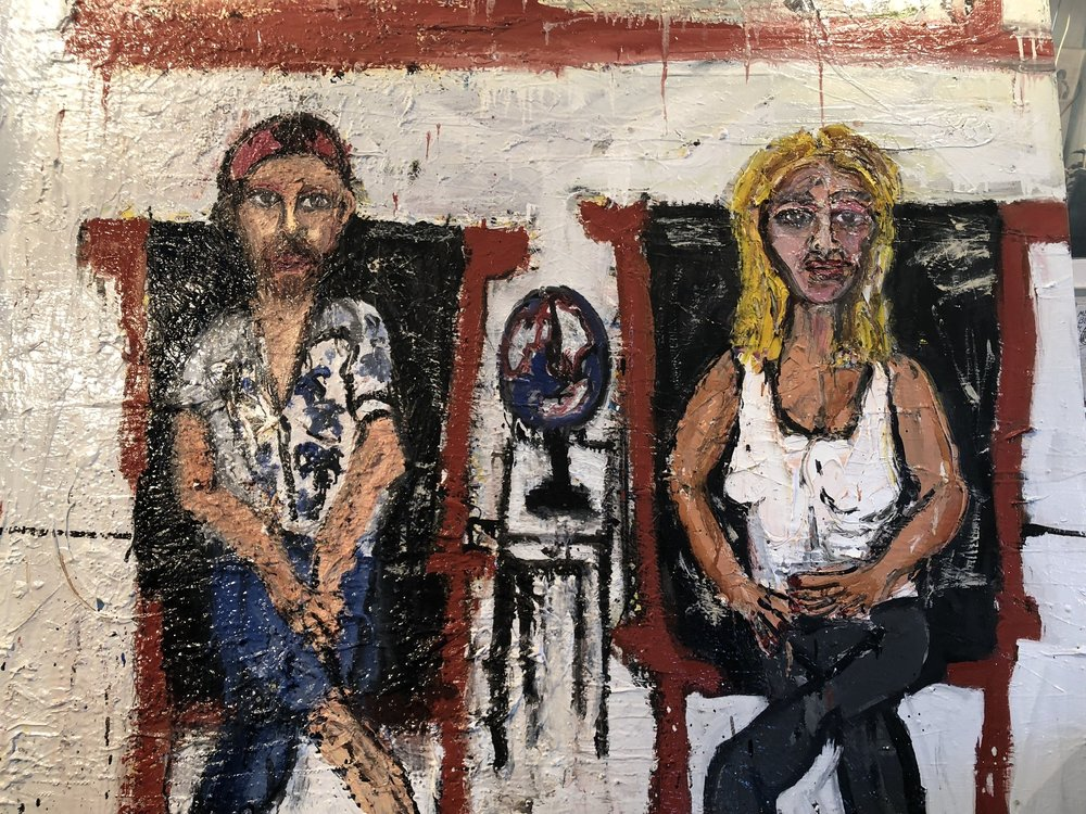 """Film Maker and Actor, Linus Ignatius and Actress, Joslyn DeFreece, Sitting in My Leather Chairs - Oil on canvas48"""" x 60""""2018"""