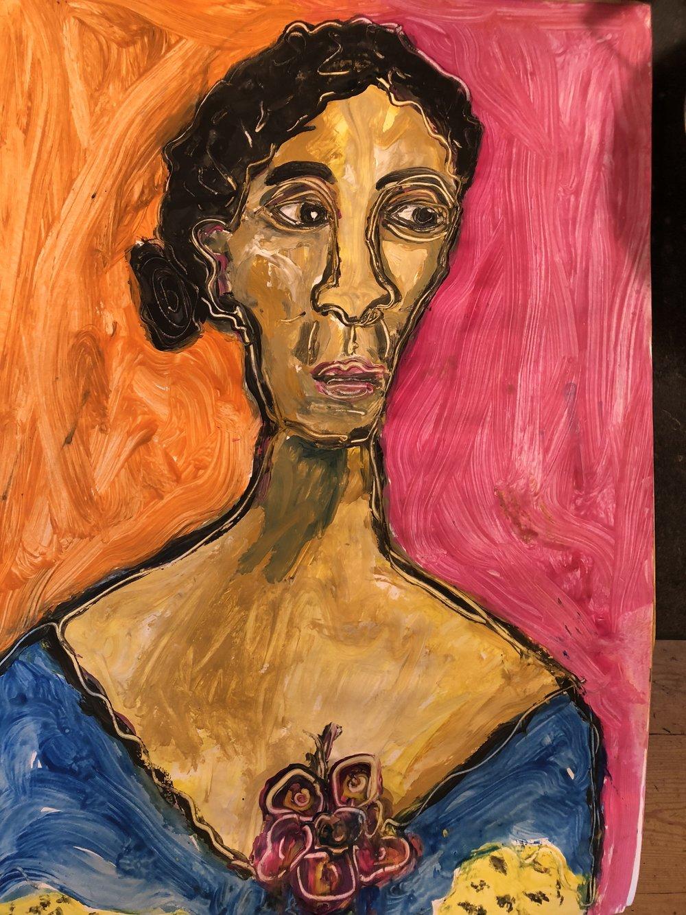 Daniel in blue Dress - Poster Paint on Paper 2018 24