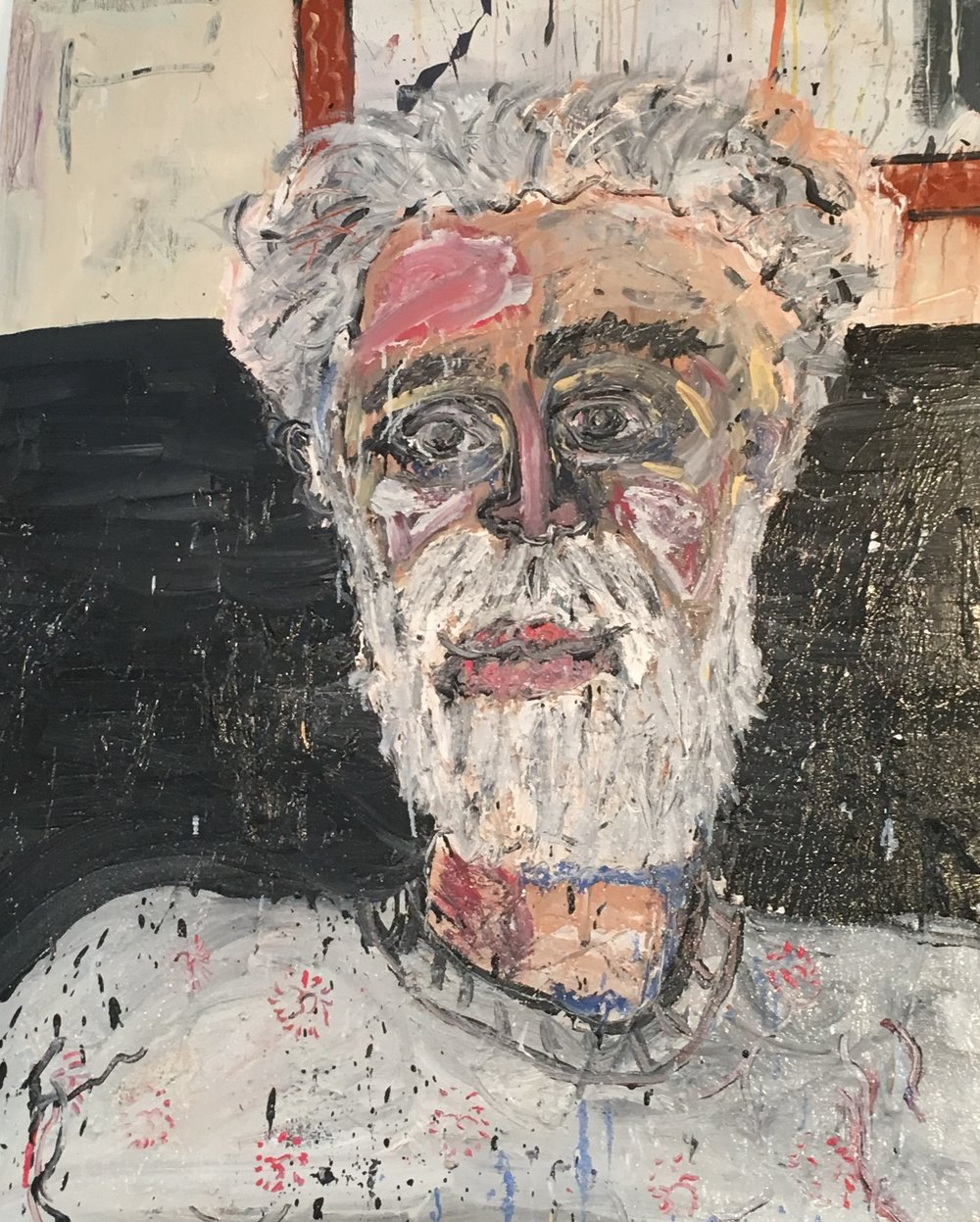 """Painter and Sculptor, Dan Potter, Sitting in My Leather Chair - Oil on canvas60"""" x 48""""2017"""