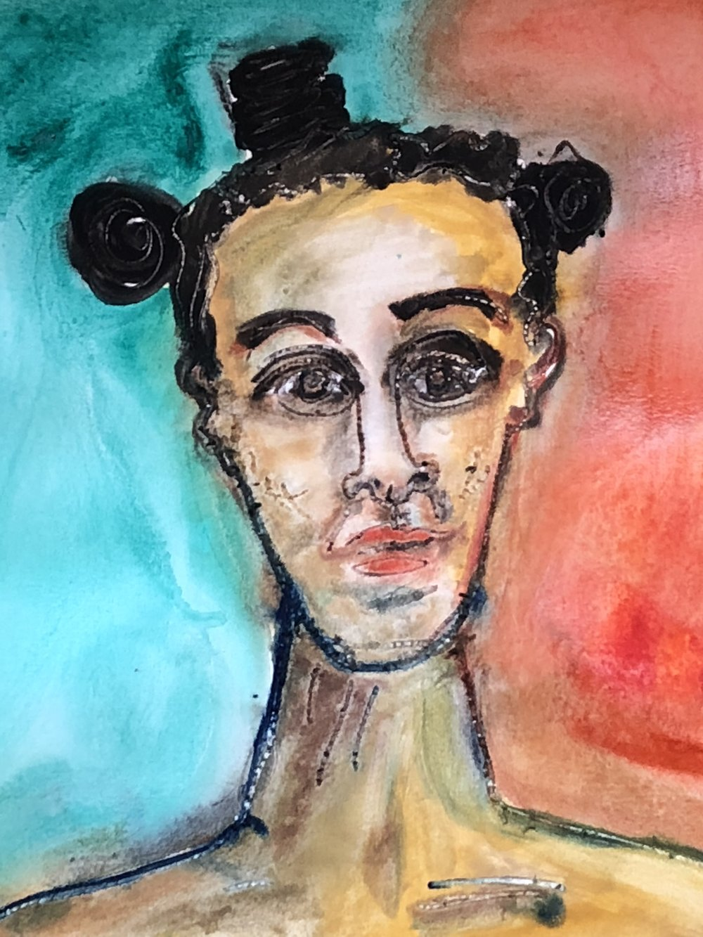 Danielle with Buns in her Hair - Poster Paint on Paper 2018 24