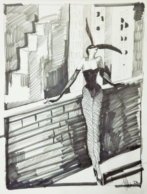 a woman on a roof