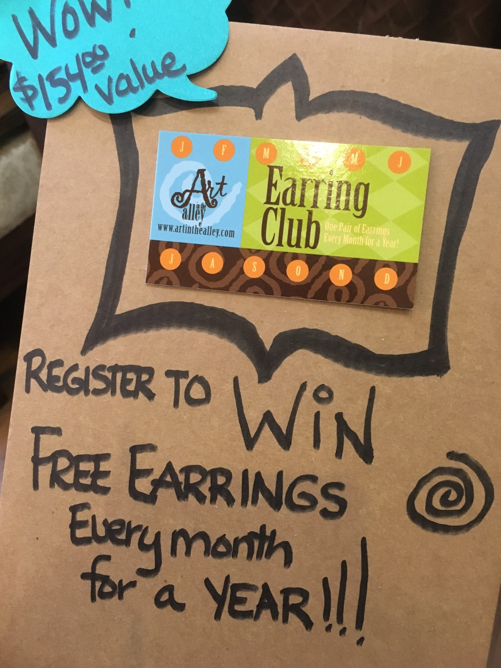 Free earrings every month for a year!