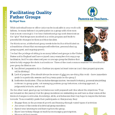 Facilitating Quality Father Groups By Nigel Vann