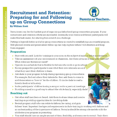 Recruitment and Retention : Preparing for and Following Through on Group Connections   By William Scott