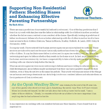 Supporting Non-Residential Fathers : Shedding Biases and Enhancing Effective Parenting Partnerships   By Zach Allen