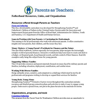Online Resources and Links to Fatherhood Organizations – compiled by the Parents as Teachers national office