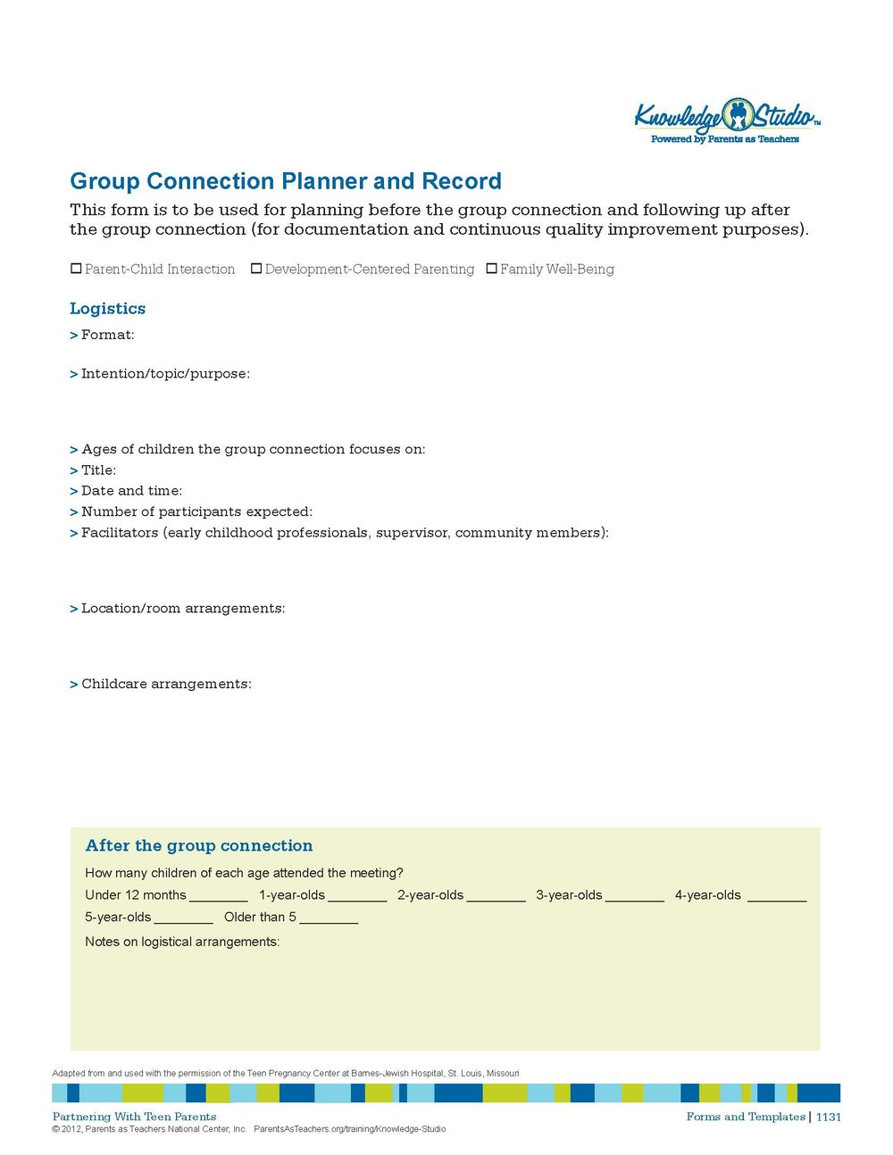 Group Connection Planner and Record