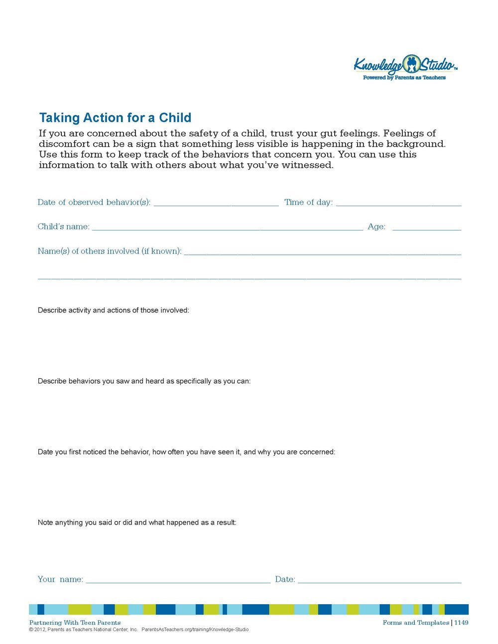 Taking Action for a Child  Parent Handout